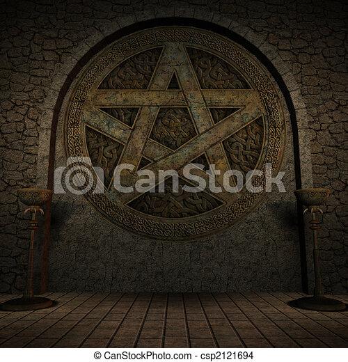 Indoor Pentagram Background - csp2121694