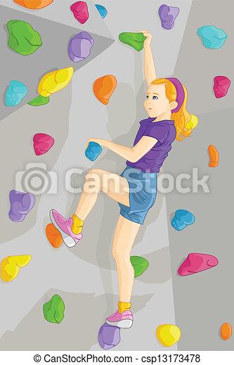 Indoor rock climber - csp13173478