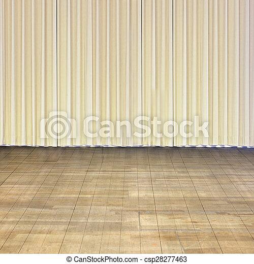 Indoor Stage With Old Wood Floor And Beige Curtain Indoor Stage