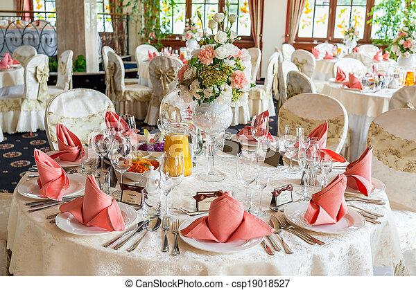 Indoors wedding reception with decor - csp19018527
