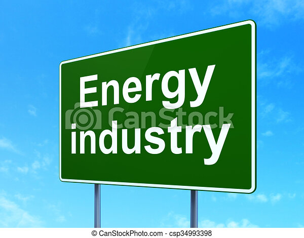 Concepto de fabricación: Industrias Energía en el fondo de las señales de carretera - csp34993398