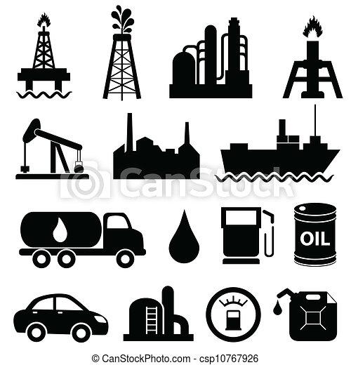 industria, olio, set, icona - csp10767926