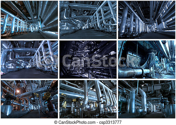 Industrial backgrounds collage made of 9 pictures - csp3313777