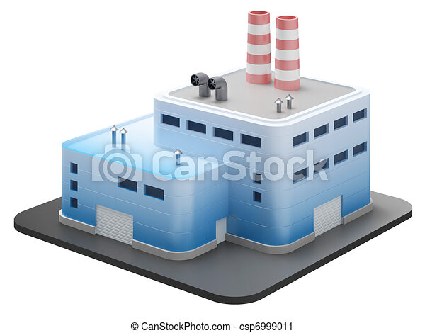 Industrial building on white, 3d render - csp6999011