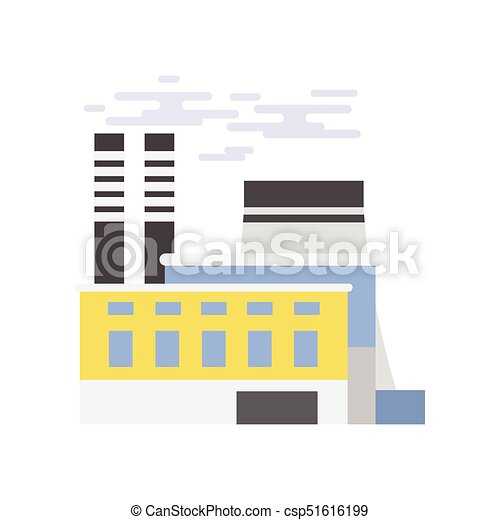 Industrial building, power plant vector illustration - csp51616199