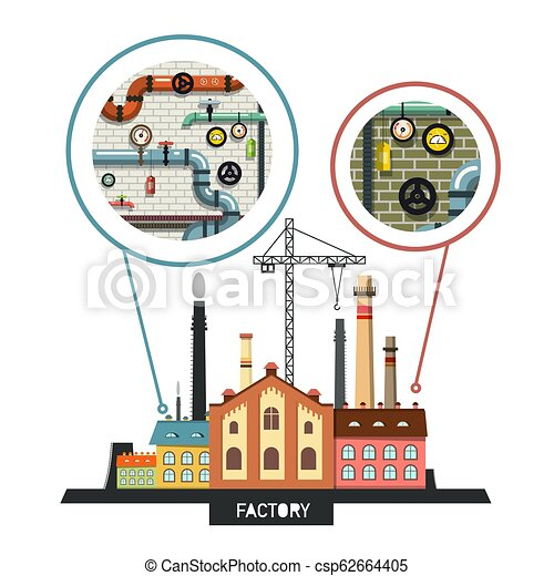 Industrial Building. Vector Factory with Interiors in Bubbless. - csp62664405