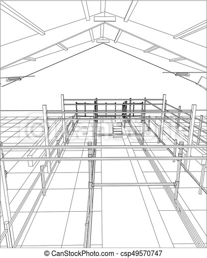 industrial building wireframe for abstract background tracing