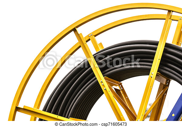 Industrial cables rolled up on reel - csp71605473
