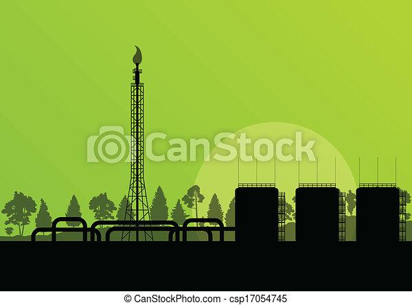 Fabricación de paisajes industriales de refinería de petróleo vector de fondo de ilustración para el poster - csp17054745