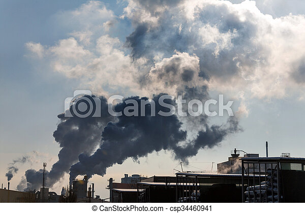 industrial chimney with exhaust gases - csp34460941