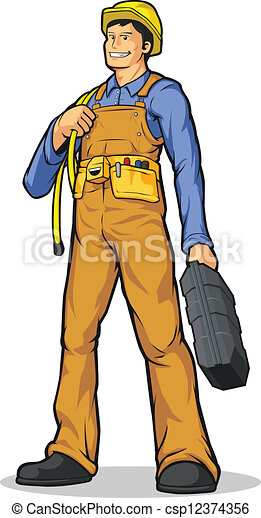 Industrial Construction Worker With Vector