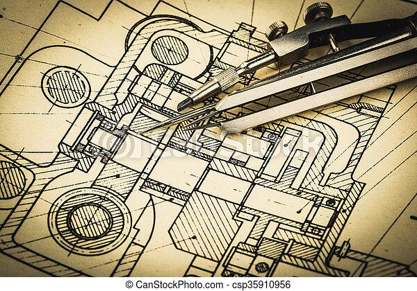industrial, dibujo - csp35910956