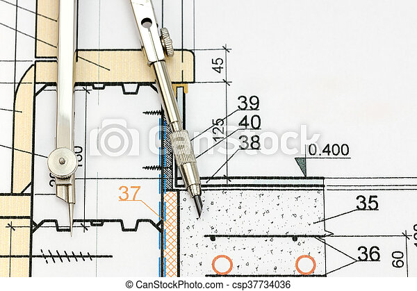 Industrial drawing detail with drawing compass top view architect industrial drawing detail with drawing compass top view csp37734036 malvernweather Images