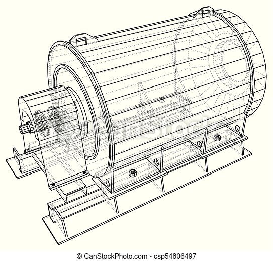 Industrial engine. Wire-frame. Vector EPS10 format. Vector rendering on industrial ac system diagram, industrial dc motor diagram, industrial furnace diagram, industrial valve diagram,