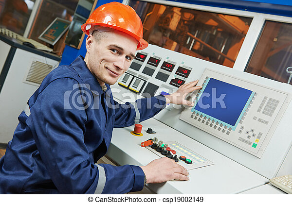 industrial engineer worker at control panel - csp19002149