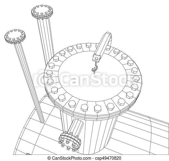 Industrial equipment capacity. Wire-frame. EPS10 format. Vector rendering of 3d - csp49470820