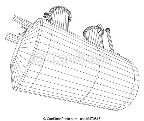 Industrial equipment capacity. Wire-frame. EPS10 format. Vector rendering of 3d - csp49470815