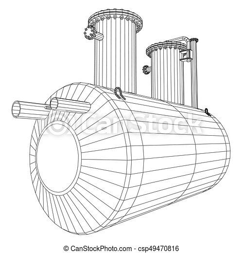 Industrial equipment capacity. Wire-frame. EPS10 format. Vector rendering of 3d - csp49470816