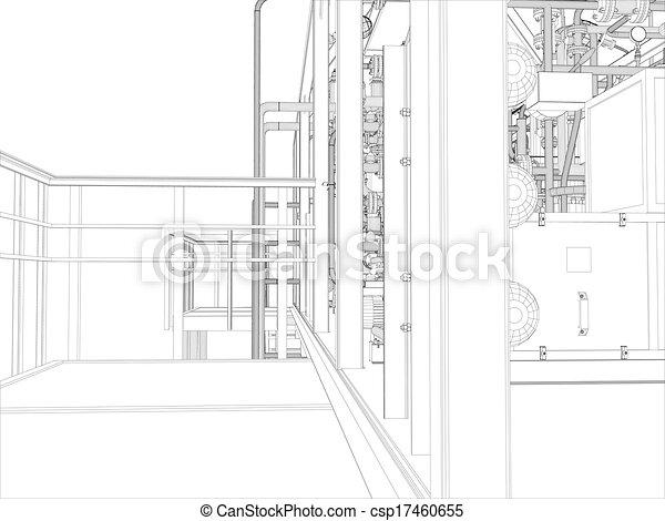 Industrial equipment. Wire-frame render - csp17460655