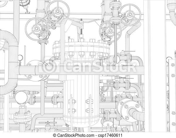 Industrial equipment. Wire-frame render - csp17460611