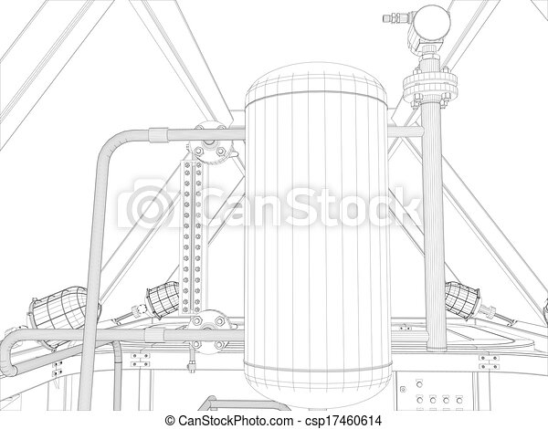Industrial equipment. Wire-frame render - csp17460614