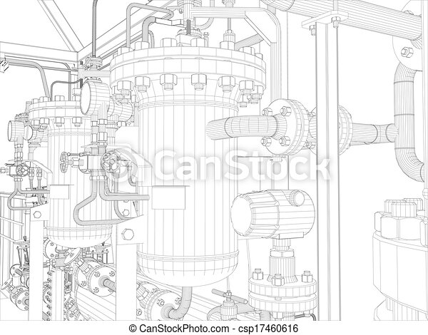 Industrial equipment. Wire-frame render - csp17460616