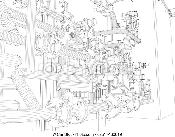 Industrial equipment. Wire-frame render - csp17460619