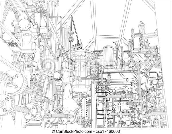Industrial equipment. Wire-frame render - csp17460608