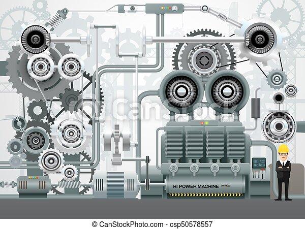 industrial, fábrica, ilustração, equipamento, engenharia, vetorial, maquinaria, construção - csp50578557