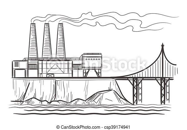 Paisaje industrial de fábrica - csp39174941