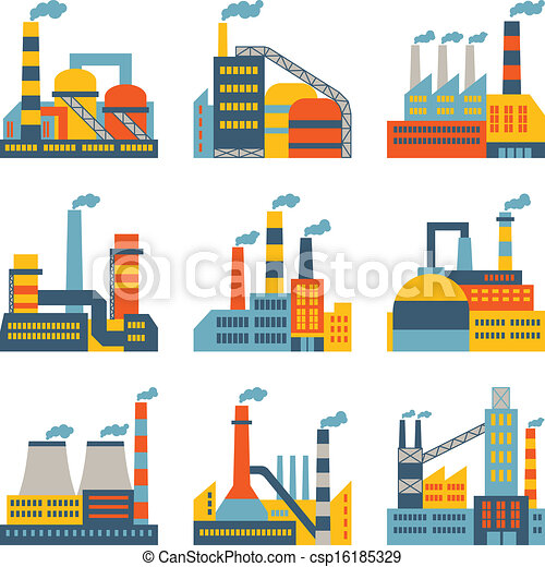 Industrial factory buildings icons set in flat design style. - csp16185329
