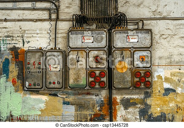 Industrial fuse box on the wall - csp13445728