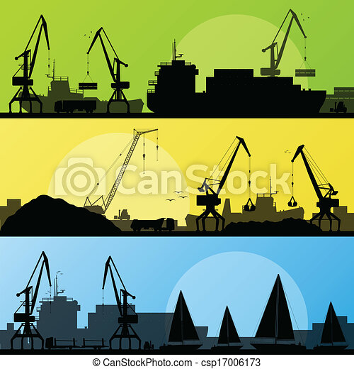 Industrial harbor, ships, transportation and crane seashore landscape silhouette illustration collection background vector - csp17006173