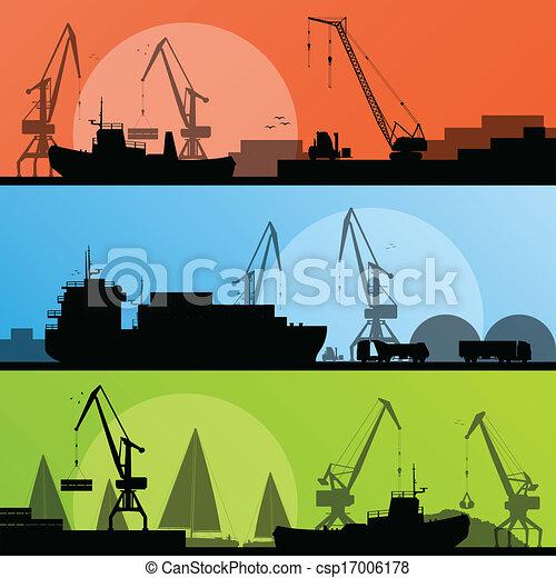Industrial harbor, ships, transportation and crane seashore landscape silhouette illustration collection background vector - csp17006178