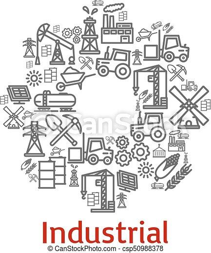 El póster de Vector de iconos de agricultura industrial - csp50988378