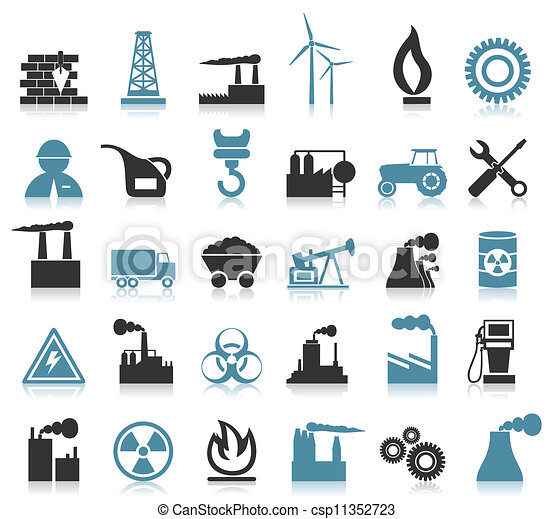 Industrial icons. Set of icons on a theme the industry. a ...