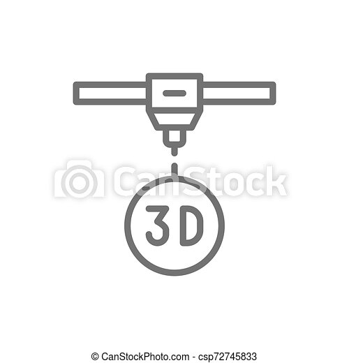 Modelo 3D, impresora industrial, icono de modelo tridimensional. - csp72745833