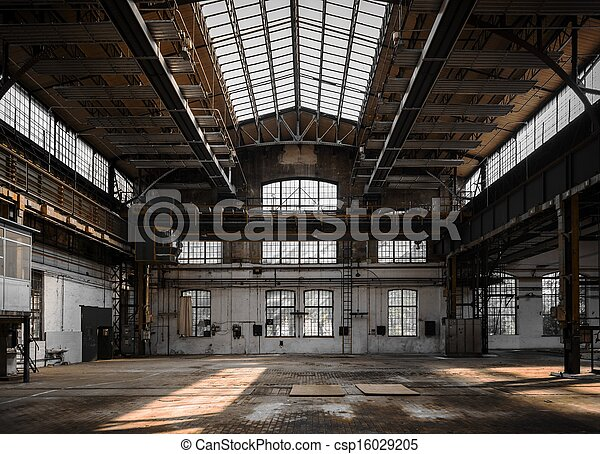 Industrial interior of an old factory - csp16029205