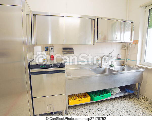 Industrial Kitchen With Refrigerator Dishwasher And Sink All Stainless Steel