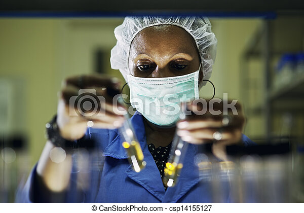 Industrial lab and staff, woman at work as scientist - csp14155127