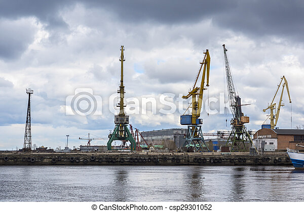 Industrial landscape, lake docks - csp29301052