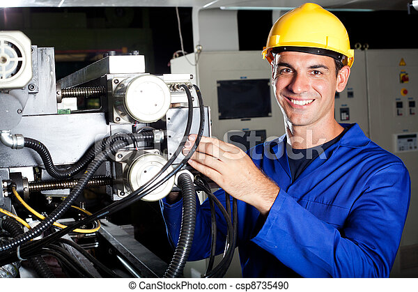 Happy modern industrial machine operator at work stock photography ...