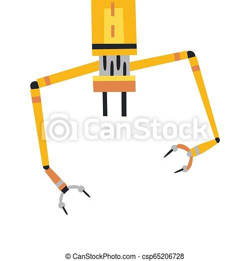 Industrial mechanical robot arm vector icon  Yellow robotic arm