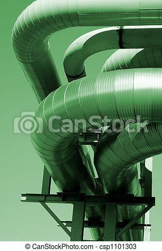 industrial pipelines on pipe-bridge against blue sky - csp1101303