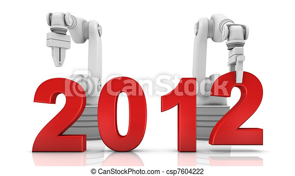 Industrial robotic arm building 2012 - csp7604222