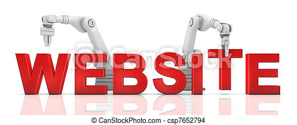 Industrial robotic arms building WEBSITE word - csp7652794