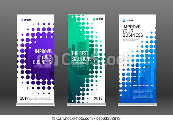 Industrial Roll Up Banners Design Templates Set Vertical Banner For