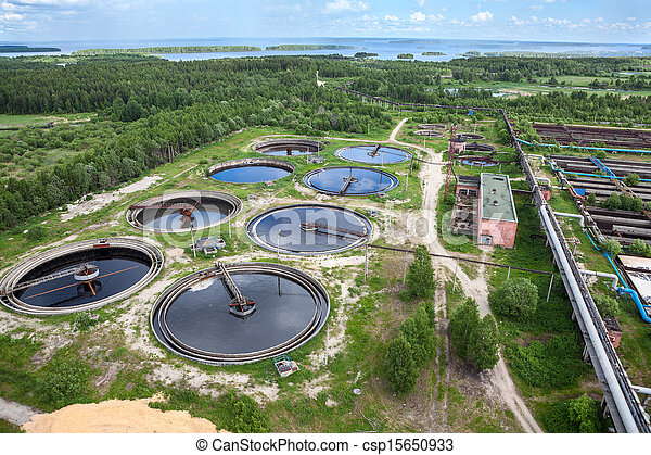 Industrial wastewater treatment circular settlers, aerial view - csp15650933