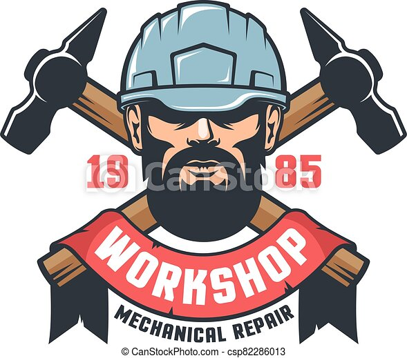 Industrial worker in helmet vintage logo - csp82286013