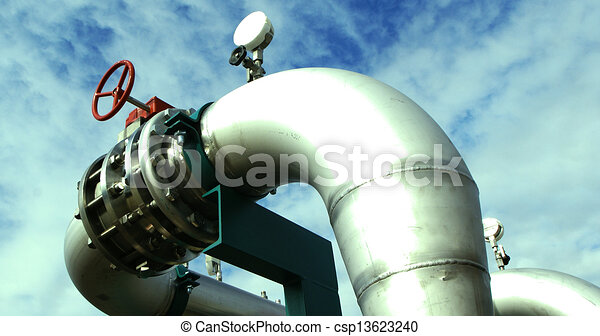 Industrial zone, Steel pipelines and cables in green tones - csp13623240